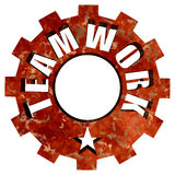 Teamwork text gear steel wheel and star Royalty Free Stock Photos