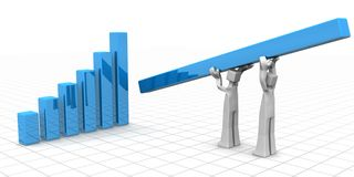 Teamwork to financial growth and success concept. Businessman carrying and placing a tallest bar chart financial growth and teamwork success 3d illustration Stock Image