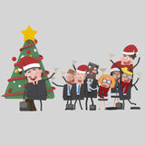 Teamwork toasting with champagne in front of Xmas Tree.3D Royalty Free Stock Photos