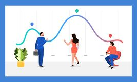 Teamwork data analytics. The teamwork together working analysis data analytics with large monitor display graph and chart. Vector illustrations stock illustration