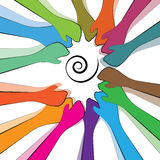 Teamwork and togetherness. Colorful and vibrantly Depicting togetherness in a community and good teamwork Stock Photos