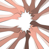 Teamwork and togetherness. Depicting togetherness in a community and good teamwork Royalty Free Stock Images