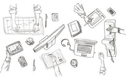 Teamwork, top view people hands sketch hand drawn Stock Photo