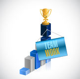 Teamwork trophy business graph Royalty Free Stock Photos