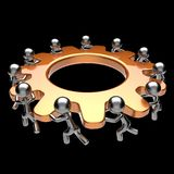 Teamwork turning gearwheel action team work hard business. Process men characters cogwheel together brainstorming partnership cooperation assistance human Royalty Free Stock Photo