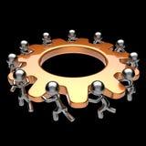 Teamwork turning gearwheel action team work hard business Royalty Free Stock Photo