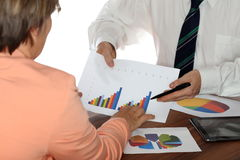Teamwork with two business people Royalty Free Stock Photo