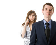 Teamwork. Two business people on white background Stock Photo