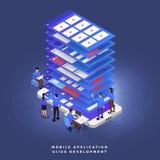 Teamwork UI/UX bärare stock illustrationer