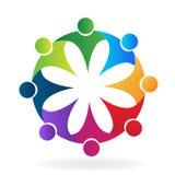 Teamwork-Umarmungsblumenleute-Ikonenlogo lizenzfreie abbildung