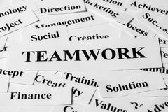 Teamwork und andere in Verbindung stehende Wörter Lizenzfreie Stockfotografie