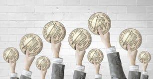 Teamwork und Währungskonzept Lizenzfreie Stockfotografie