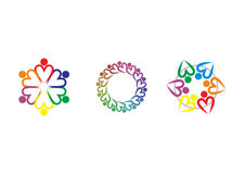 Teamwork union logo, heart of human union logo. Teamwork union vector logo design in set Royalty Free Stock Photos