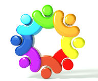 Teamwork union people 3d rainbow image Royalty Free Stock Photography