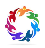 Teamwork united people. Teamwork hug business people vector image Royalty Free Stock Photography