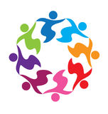 Teamwork unity business people logo. Teamwork unity people holding hands abstract logo vector Royalty Free Stock Photo