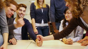 Teamwork in university classroom stock footage