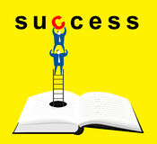 Teamwork : Using knowledge. Two businessman climb out with a ladder from a book,they creat success Royalty Free Stock Images