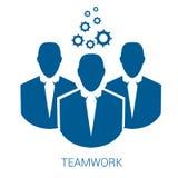 Teamwork vector blue flat icon. On white background Stock Photos