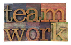 Teamwork in vintage letterpress type Stock Photo