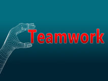 Teamwork wireframe hand. Raster teamwork image with use of wire frame hand vector illustration