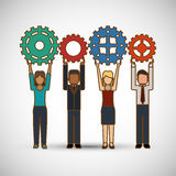 Teamwork wirth gear design, vector illustration Royalty Free Stock Photography