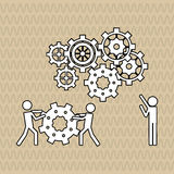 Teamwork wirth gear design, vector illustration Royalty Free Stock Photos