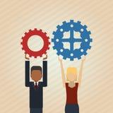 Teamwork wirth gear design, vector illustration. Teamwork  concept with icon design, vector illustration 10 eps graphic Stock Image