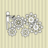 Teamwork wirth gear design, vector illustration Royalty Free Stock Photo