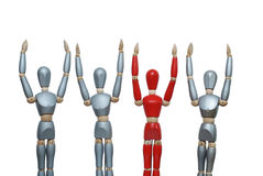 Teamwork wood mannequins. Succcessful team celebrating Red leader with bis silver team Royalty Free Stock Photo