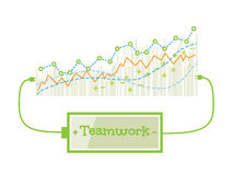 Teamwork word charging battery power with grow up graph background. Vector illustration Royalty Free Stock Photography