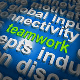 Teamwork Word Cloud Shows Combined Effort And Cooperation Royalty Free Stock Photos