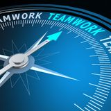 Teamwork word on compass Royalty Free Stock Images