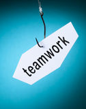 Teamwork word on hook Royalty Free Stock Photo