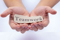 Teamwork word at man hand Royalty Free Stock Photos