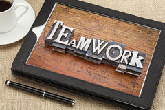 Teamwork  word in metal type Stock Photo