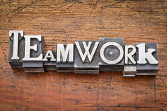 Teamwork word in metal type Stock Photography