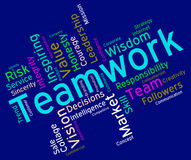 Teamwork Words Indicates Unit Wordcloud And Group Royalty Free Stock Photography