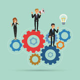 Teamwork works together concept illustration with gear system Royalty Free Stock Photo