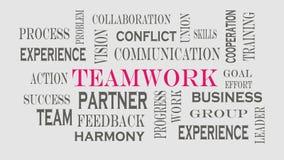 Teamwork-Wortwolkenkonzept auf grauem Hintergrund lizenzfreie abbildung