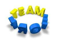 Teamwork yellow and blue letters in a ring 3d  illustration Royalty Free Stock Images