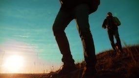 teamwork Zwei Wanderer, die den Sonnenaufgang geht von der Spitze eines Berges und des Hundes genießen Zeitlupevideo Zwei Wandere stock footage