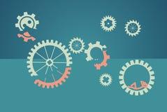 Teamworkbegrepp - lat arbetare, grön bakgrund vektor illustrationer