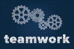 Teamworkbegrepp med kugghjul på ritning vektor illustrationer