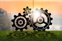 Teamworkbegreppet med kugghjulkugghjul Arkivfoton
