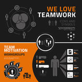 Teamworkinfographicsbeståndsdelar, symboler och symboler Arkivfoton