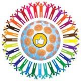 与类似符号的全球社会teamworking的概念 库存照片