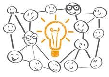 Teamworking een brainstorming vector illustratie