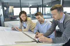 Teamworking of a group of architects Stock Image
