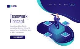 Teamworking in het bedrijfs isometrische pictogram, gegevensbeheerconcept, mentorvector vector illustratie